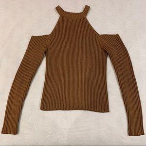 forever 21 cold shoulder ribbed sweater